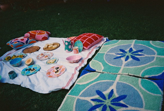 MILAN RUGS + CASABLANCA TEA POT + MUGS + CHECK PLATES + CUSHION + CASABLANCA PLATES + BOWL + AMALFI + MILAN CUSHIONS