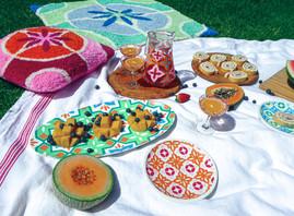 HAVANA PLATTER +CASABLANCA PLATES + AMALFI JUG + SICILY GLASSES + MILAN CUSHION + RUG