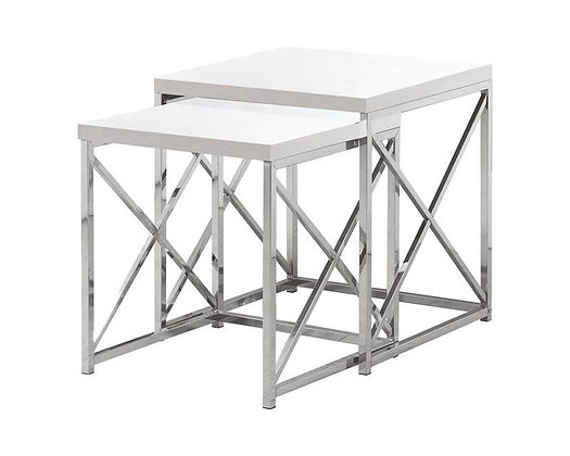 Lexington Nesting Table, White & Chrome