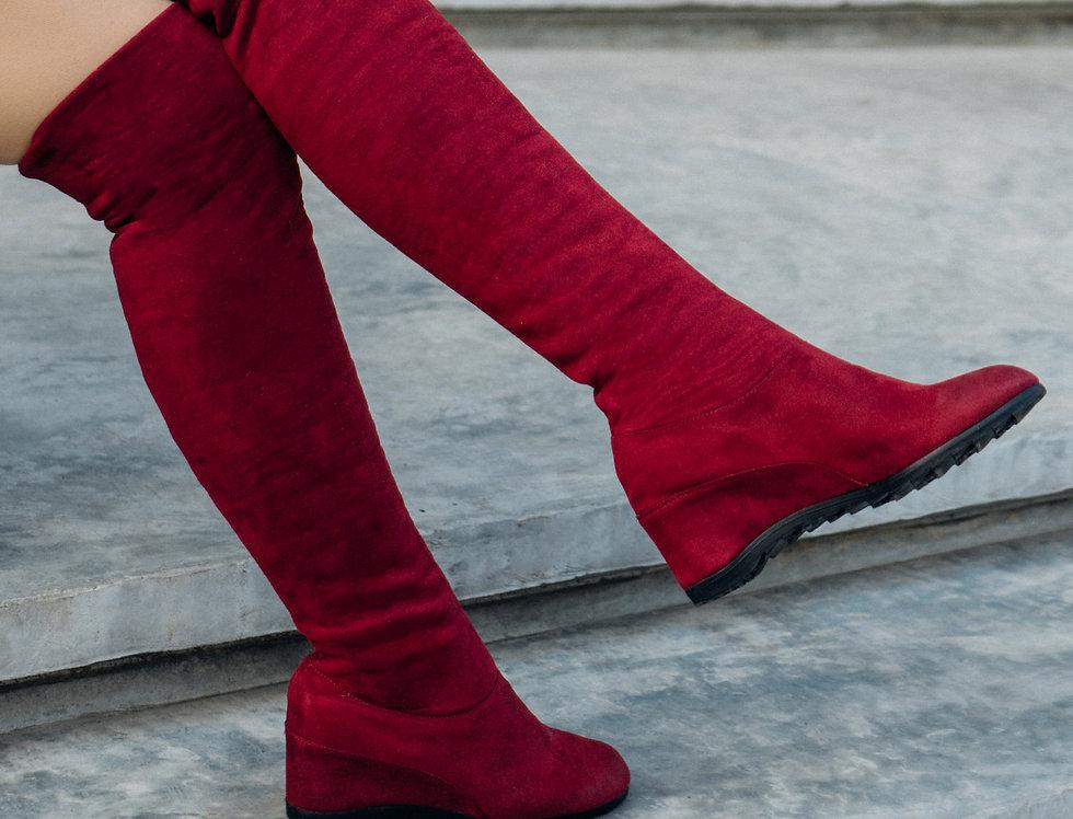 เช่ารองเท้าบูทยาวส้นสูง ผ้ากำมะหยี หญิง รุ่น PARIS |SHADJRW