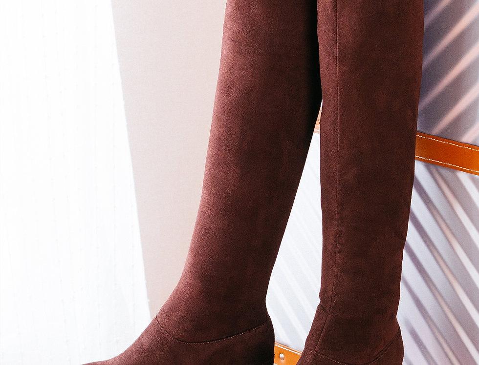 เช่ารองเท้าบูทยาวส้นสูง ผ้ากำมะหยี หญิง รุ่น PARIS | SHADJBR