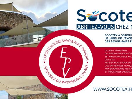 Socotex a obtenu Le Label Entreprise du Patrimoine Vivant (EPV)