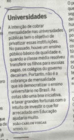 carta em O Globo