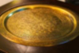 brass handmade table, tray, mirror