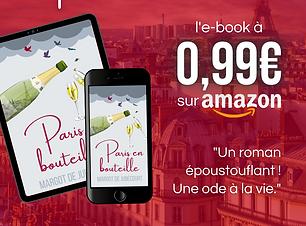 Promotion livre e-book amazon kindle octobre roman feel-good Paris en bouteille pas cher