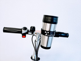TravelScoot Mug and holder on handlebars