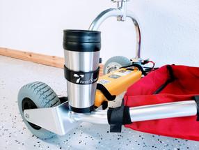 TravelScoot Mug and holder on yoke