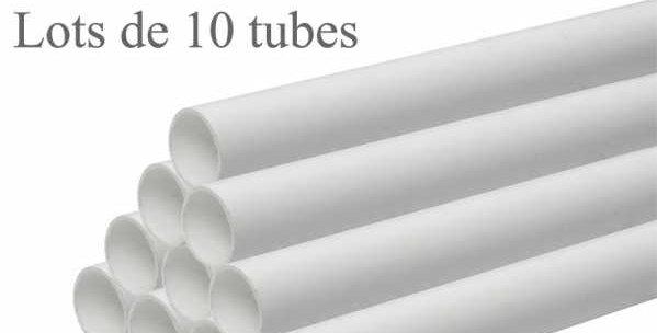 Tuyauterie pvc lots 10 tubes longueur 1,15 mètre diamètre 51 mm pour aspiration