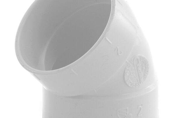 Coude PVC raccordement FF coudé 45°en diamètre intérieur 51 mm blanc pour centra