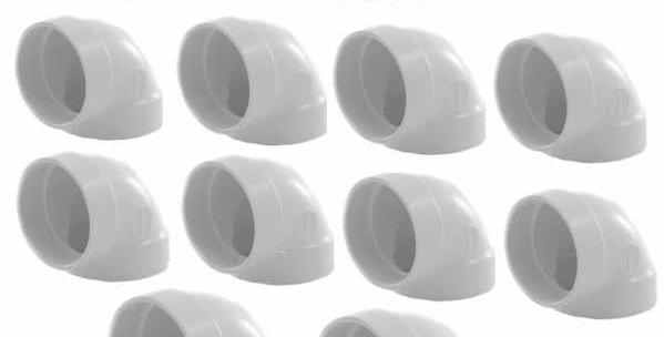 Coude long ff angle 90° en pvc lot de 10 unités diamètre 51 mm blanc 765510w pou