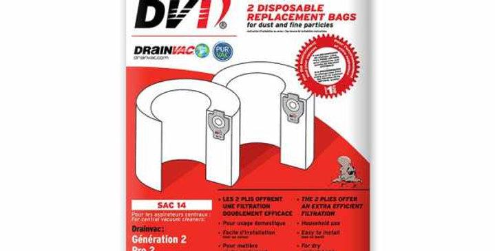 Sac de récupération lot de 2x41 litres pour centrale aspiration drainvac sac-14