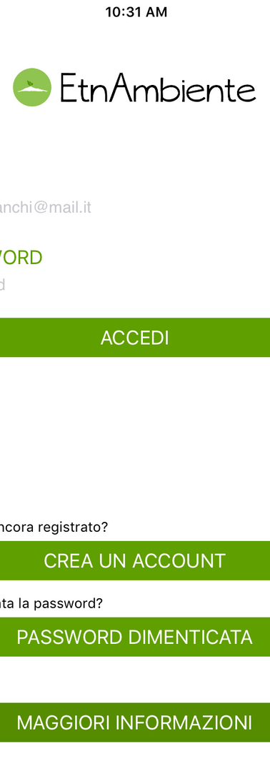 schermata accesso
