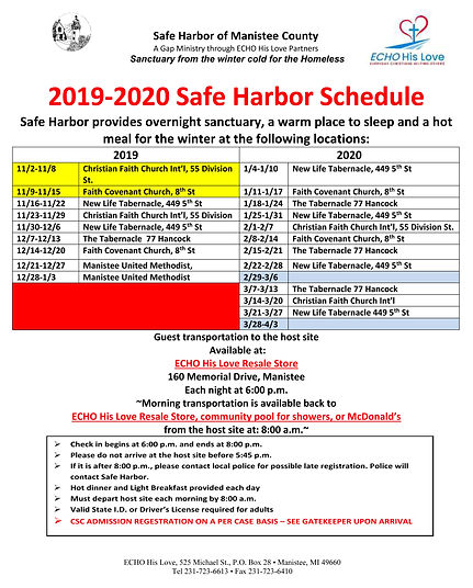 2019-2020 Safe Harbor Host Site Schedule