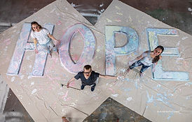 Hope painted letters with Karah Sara and