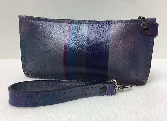 Marlena Wristlet ~ Purple Stripe/Airbrush