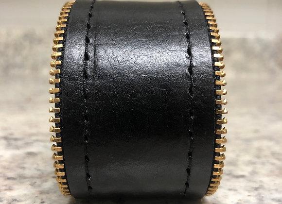 Leather Cuff w/ Zipper Detail ~ Black