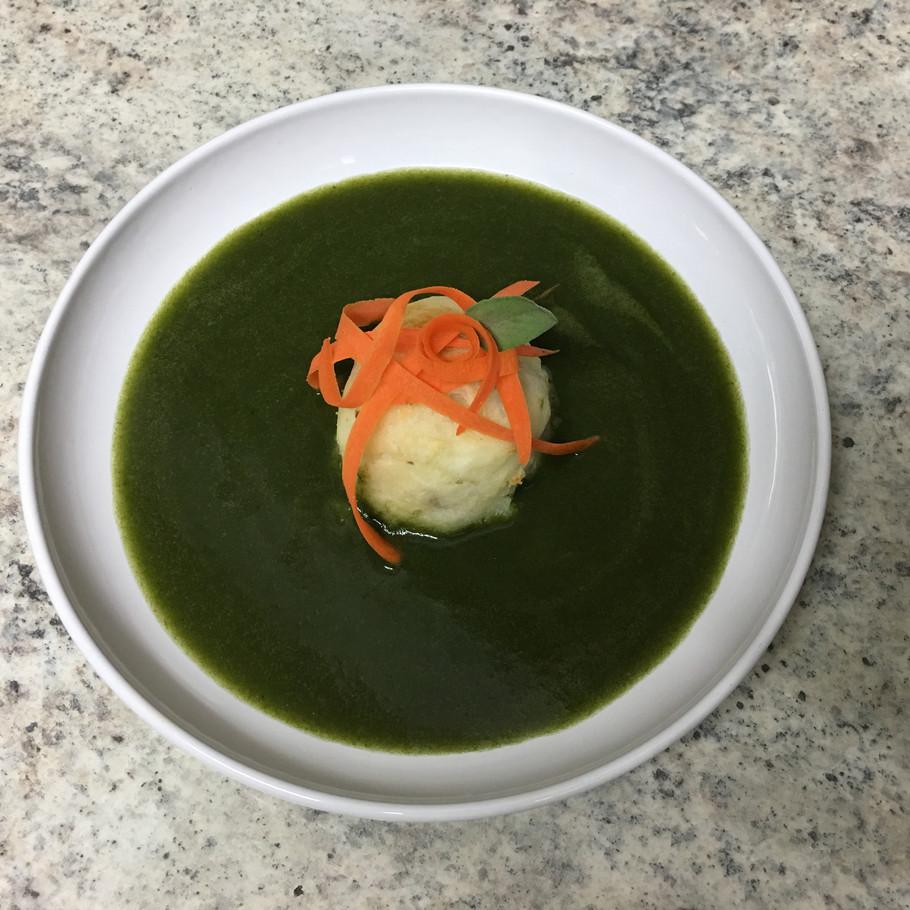 Kale Soup w/ Stuffed Potato Cake
