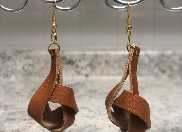 Tangled Leather Earrings ~ Cognac