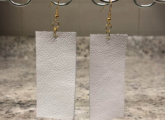 Rectangle Leather Earrings ~ White