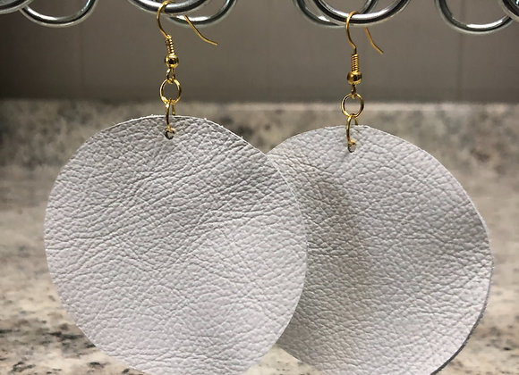 Round Leather Earrings ~ White