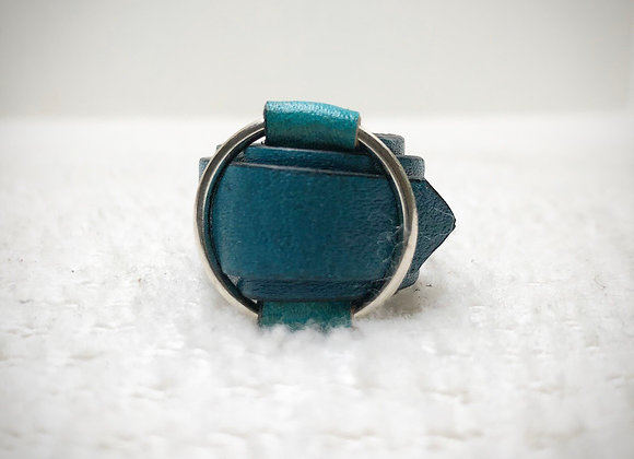 Chunky Leather Ring ~ Denim