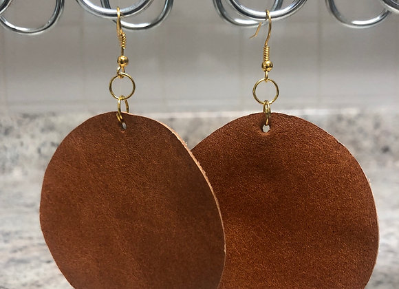 Round Leather Earrings ~ Cognac
