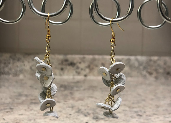 """Petals"" Leather Earrings ~ White"