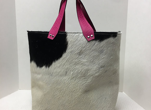 Terry Tote ~ Cowhide w/ Pink Straps