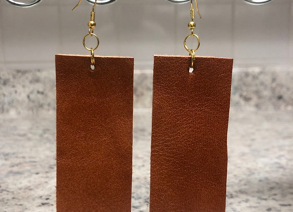 Rectangle Leather Earrings ~ Cognac