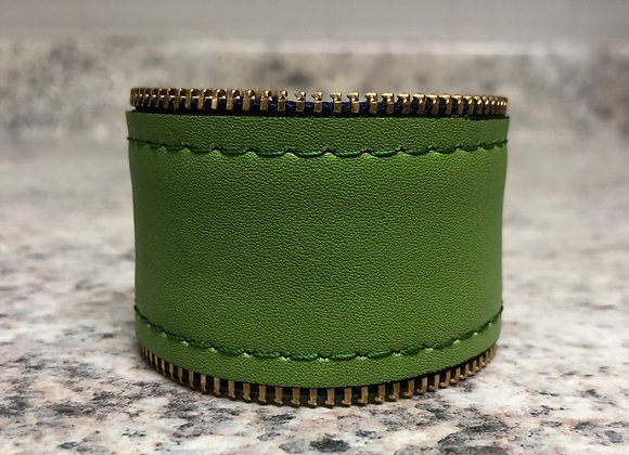 Leather Cuff w/ Zipper Detail ~ Lime