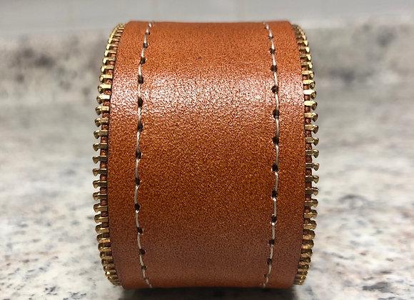 Leather Cuff w/ Zipper Detail ~ Cognac