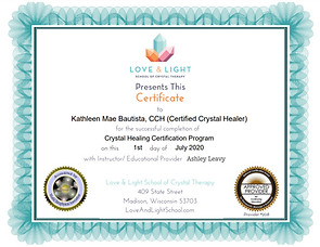 Crystal Healer Certification from the Love & Light School of Crystal Therapy, 2020