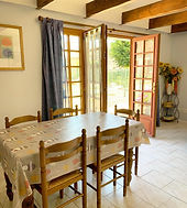 chinon gite dining area and french windows to pool area