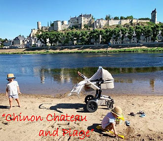 chinon chateau, river vienne and plage