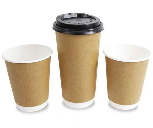 Double Walled Paper Cups with lid - 350ml (100 / pack)