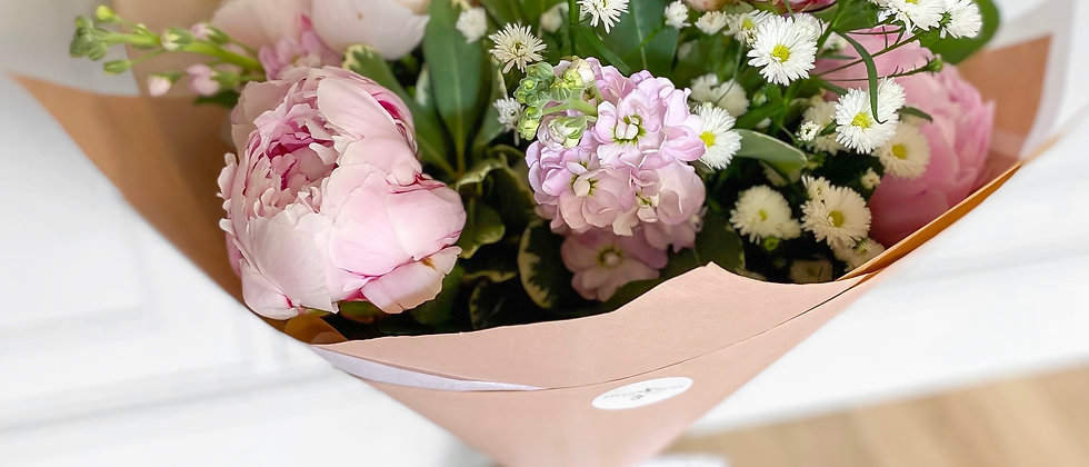 Peonies & Stocks Scented Hand Tied