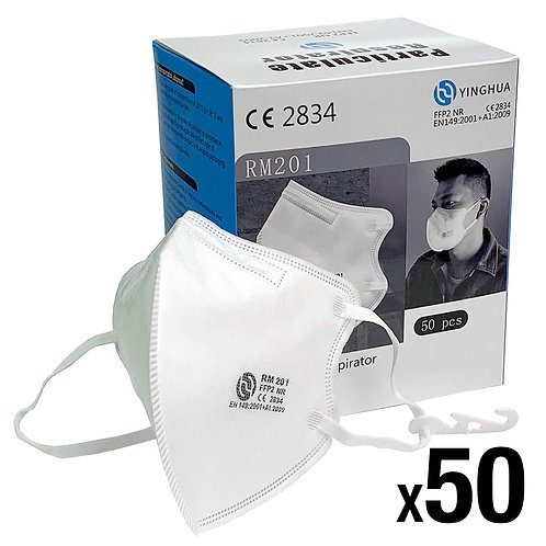 FFP2 Respirator Face Mask x 50 - CAT III PPE Certified