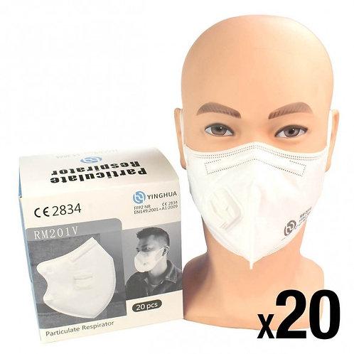 FFP2 Respirator Face Mask x 20 - Valved