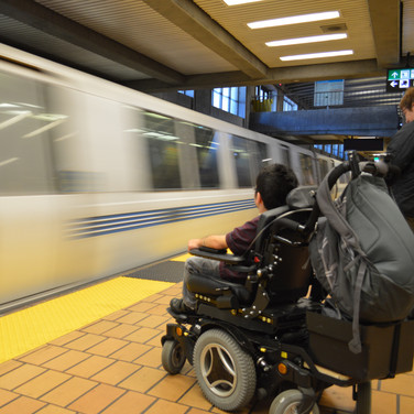 A Wheelchair User at a BART Station