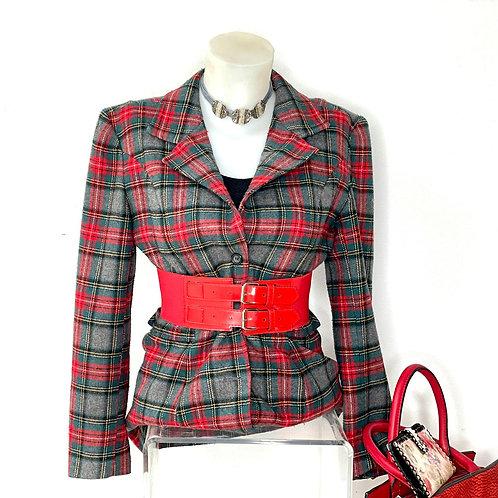 Americana de lana con cuadro escocés
