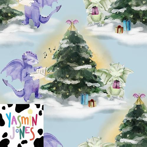 Christmas Dragons Blue