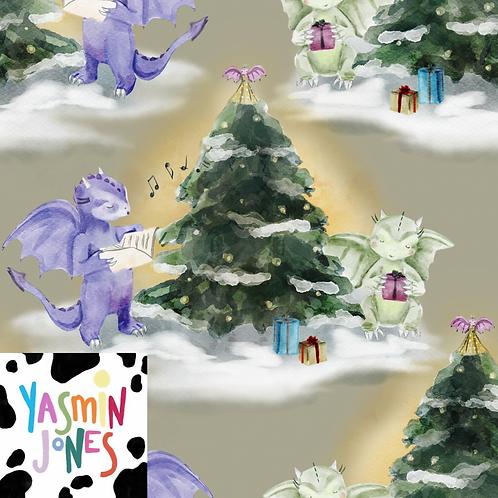 Christmas Dragons Khaki