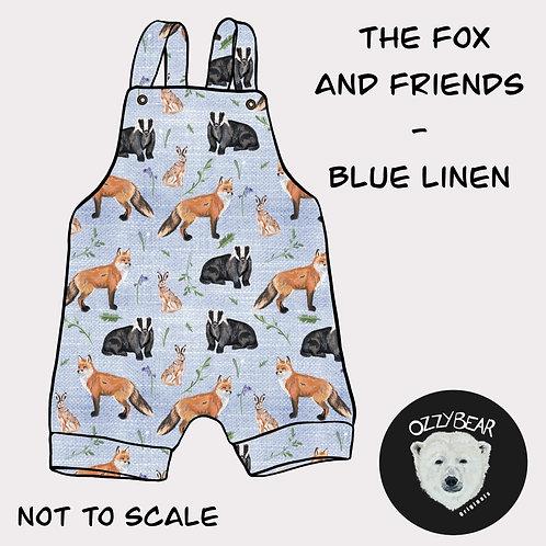 Fox and friends - blue linen