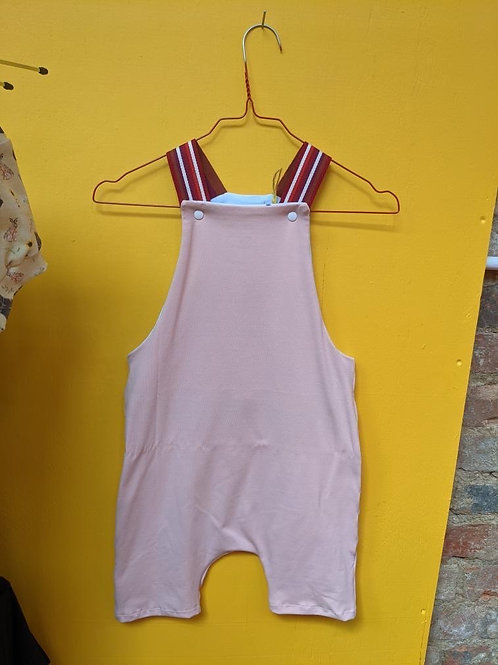 Not So Plain Pink and Red Stripe Shorty Dungarees
