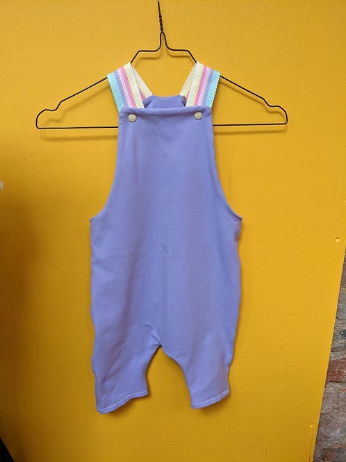 Not So Plain Lilac and Pastel Rainbow Shorty Dungarees