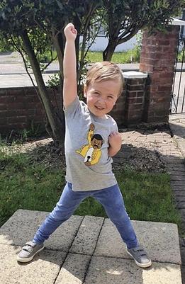 Heather grey T shirt featuring Teddy Mercury vinyl design