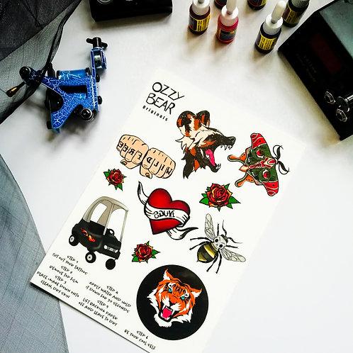 Temporary Tattoo Sheet - Traditional