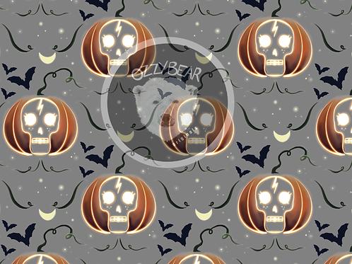 Pumpkin Skull Grey