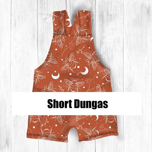Short Dungarees Front and Back Mockup