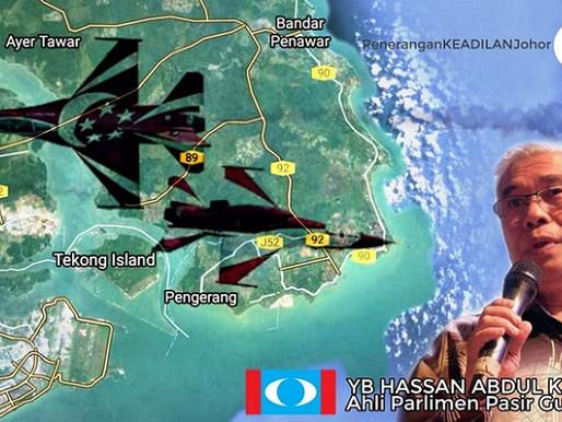 Bantah pesawat tentera Singapura terbang rendah di ruang udara Pasir Gudang